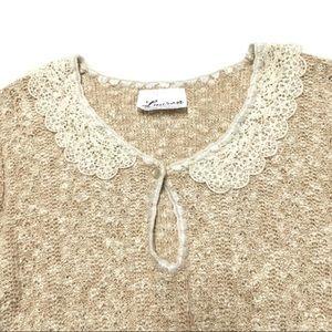 3/$50 VTG Lauren crochet Peter Pan collar top M